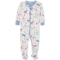 Hatley Infant Girl's Playful Ponies Organic Cotton Footed Coverall