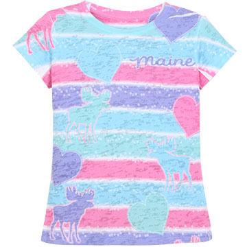 Lakeshirts Girls Blue 84 Moose Hearts Short-Sleeve T-Shirt