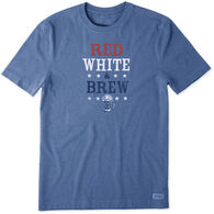Life is Good Men's Red White Brew Crusher Short-Sleeve T-Shirt