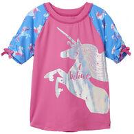 Hatley Girl's Rainbow Unicorn Short-Sleeve Rashguard