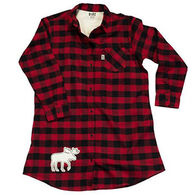 Lazy One Women's Flannel Plaid Button Down Nightshirt