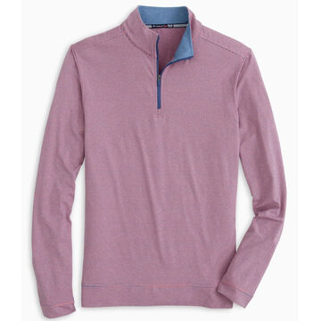 Southern Tide Mens Cruiser Heather Micro Striped Performance Quarter-Zip Pullover