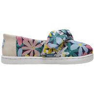 TOMS Toddler Girls' Tiny TOMS Multi Giant Flowers Print Bow Classic Shoe