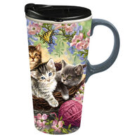 Evergreen Kittens & Flowers Ceramic Travel Cup w/ Lid
