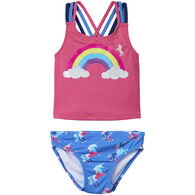 Hatley Girl's Rainbow Unicorns Sporty Tankini Set