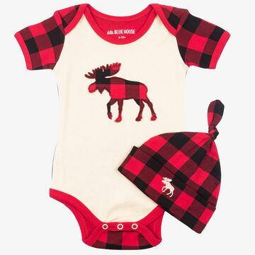 Hatley Infant Boys Plaid Moose Baby Bodysuit with Hat