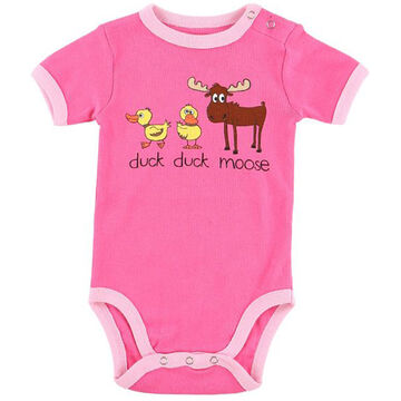 Lazy One Infant Girls Duck Duck Moose Pink Creeper
