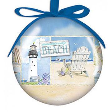 Cape Shore Spliced Ball Coastal Collage Ornament