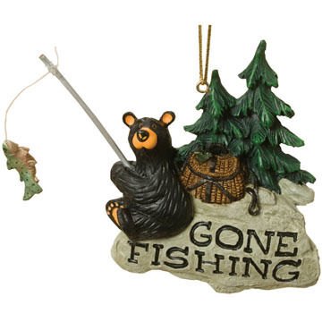 Big Sky Carvers Gone Fishing Bear Ornament