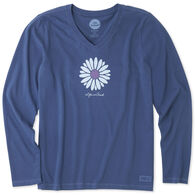 Life is Good Women's Petal Daisy Crusher Vee Long-Sleeve T-Shirt
