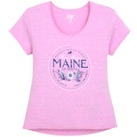 Lakeshirts Women's Blue 84 Go Back In Time Maine Short-Sleeve T-Shirt