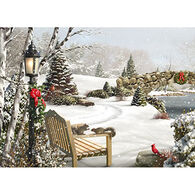 LPG Greetings Bench With Scenery Boxed Christmas Cards