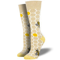 Socksmith Design Women's Recycled Cotton Honey Bee Crew Sock