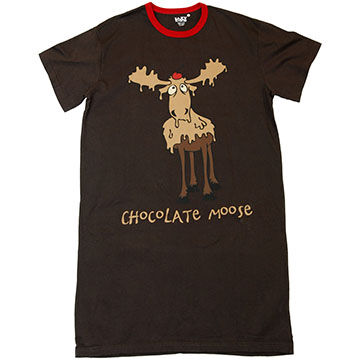 Lazy One Womens Chocolate Moose Nightshirt