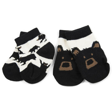 Hatley Infant Little Blue House Bears on Natural Sock, 2-Piece