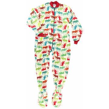 Lazy One Womens Pattern Moose Footeez Pajama
