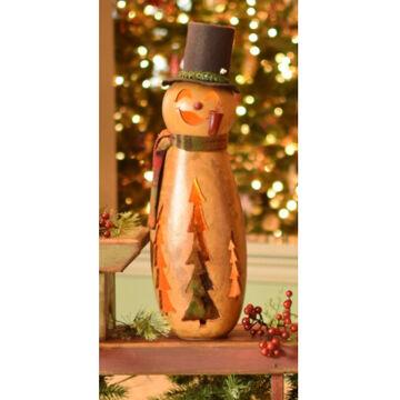 Meadowbrooke Gourds Flurry Medium Tall Lit Snowman Gourd