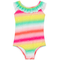 Hatley Girl's Shimmer Rainbow Ruffle Sleeve Swimsuit