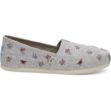 TOMS Womens Embroidered Bugs Classic Alpargatas Shoe