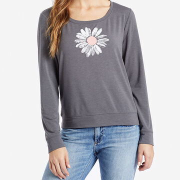 Life is Good Womens Daisy Supreme Scoop Pullover Long-Sleeve Top