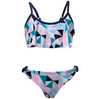 Snapper Rock Swimwear Girl's Pink Geo Flounce Two-Piece Swimsuit