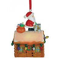 Cape Shore Santa On Log Cabin Light Up Resin Ornament