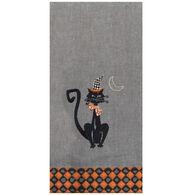 Kay Dee Designs Harlequin Halloween Cat Embroidered Tea Towel