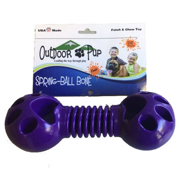 Outdoor Pup Spring-Ball Bone Treat-Fillable Dog Toy