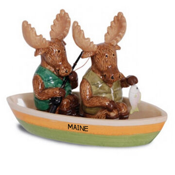 Cape Shore Moose Fishing Novelty Salt & Pepper Shakers