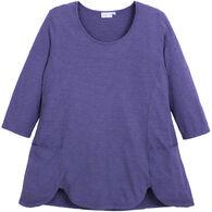 Prairie Cotton Women's Jersey Slub 3/4-Sleeve Scallop Hem Tunic Top