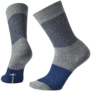 SmartWool Womens Color Block Cable Crew Sock