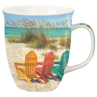 Cape Shore Maine Beach Scene with Adirondack Chairs Harbor Mug