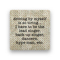 Paisley & Parsley Designs Driving By Myself Marble Tile Coaster