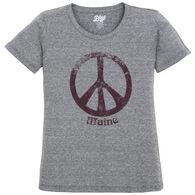 Lakeshirts Women's Blue 84 Annie's Peace Sign Maine Short-Sleeve T-Shirt
