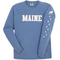 Soft As A Grape Women's Maine Moose Tracks Sleeve Graphic Long-Sleeve T-Shirt
