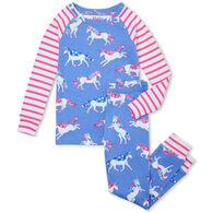 Hatley Girl's Dreamy Unicorns Organic Cotton Raglan Long-Sleeve Pajama Set