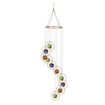 Red Carpet Studios Copper Round Rings With Multi-Colors Marbles Spiral Tones Wind Chime