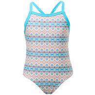 Snapper Rock Swimwear Girl's Marrakesh X Back Tie One-Piece Swimsuit