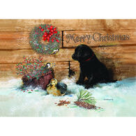 LPG Greetings Black Lab Puppy in Snow Boxed Christmas Cards