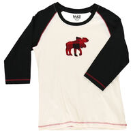 Lazy One Women's Moose Plaid Applique Raglan Sleep Shirt