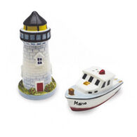 Cape Shore Lighthouse & Boat Novelty Salt & Pepper Shaker Set
