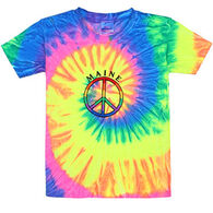 ESY Boys' & Girls' Tie Dye Peace Sign Short-Sleeve T-Shirt