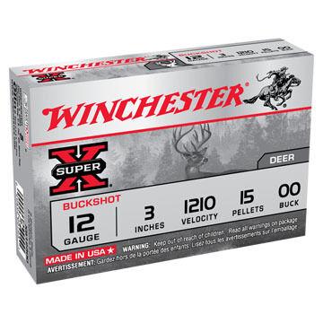 "Winchester Super-X 12 GA 3"" 15 Pellet #00 Buckshot Ammo (5)"