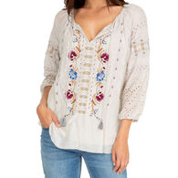 Johnny Was Women's Angelique Eyelet Peasant Long-Sleeve Top