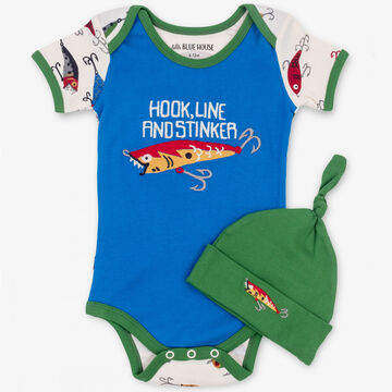 Hatley Boys Little Blue House Fishing Lures Bodysuit with Hat