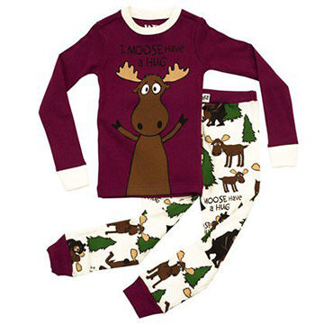 Lazy One Girls Moose Hug Pajama Set