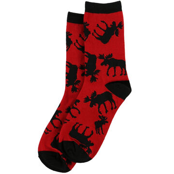 Lazy One Womens Red Classic Moose Crew Sock