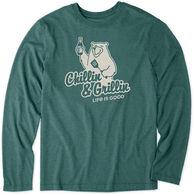 Life is Good Men's Grillin & Chillin Bear Cool Tee Long-Sleeve Shirt