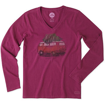 Life is Good Women's Family Ties VW Wagon Crusher Vee Long-Sleeve Shirt