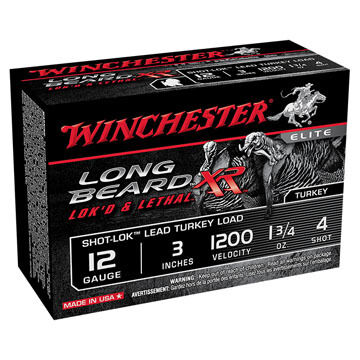 "Winchester Long Beard XR 12 GA 3"" 1-3/4 oz. #4 Shotshell Ammo (10)"
